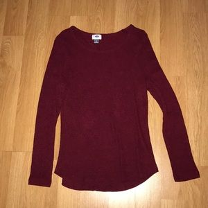 Long sleeve ribbed maroon Old Navy shirt